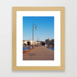 Little Greek beach town Framed Art Print