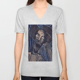Don Quixote in Blue and Rust Unisex V-Neck