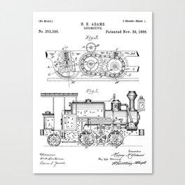 Steam Train Patent - Steam Locomotive Art - Black And White Canvas Print