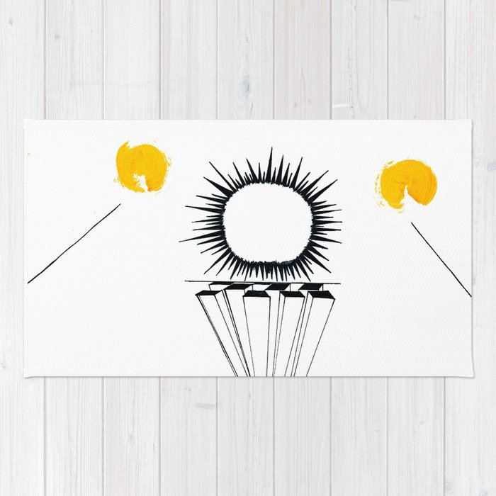 Abstract black sun Rug