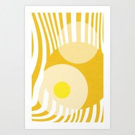 Yellow White Geometric Abstract Art Print