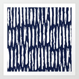 Vertical Dash White on Navy Blue Paint Stripes Art Print