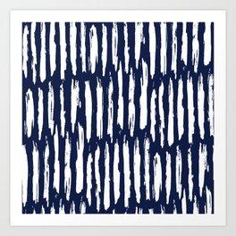 Vertical Dash White on Navy Blue Paint Stripes Kunstdrucke