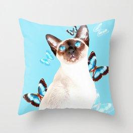 Siamese And Butterflies #society6 #buyart #decor #lifestyle Throw Pillow