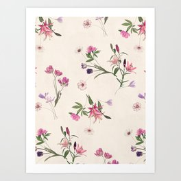 Scattered Floral on Cream Art Print