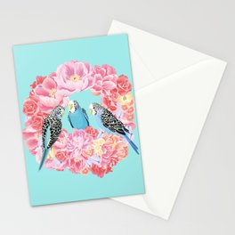 Birds of Paradise Parakeets Blue budgie Pink Peonies Flowers Wreath Stationery Cards