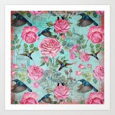 Vintage Watercolor hummingbird and English Roses on aqua Background Art Print