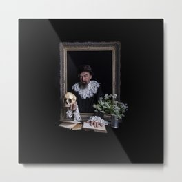 Old man with skull Metal Print