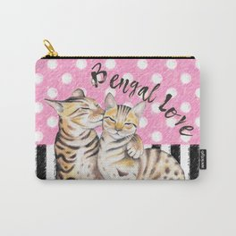 Bengal Cats Love Polka Dot Pink Stripes Carry-All Pouch