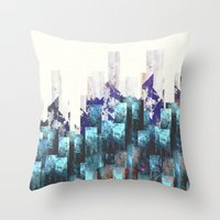 cities Throw Pillows featuring Cold cities by HappyMelvin