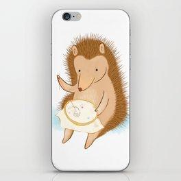 Hedgehog stitching a hedgehog iPhone Skin
