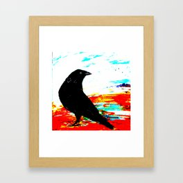 Crow on Red Framed Art Print