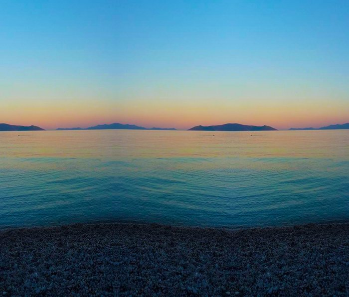 Sunset Greek Island Metal Travel Mug