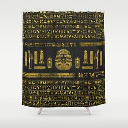 Golden Egyptian Sphinx on black leather Shower Curtain
