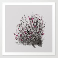 HEDGEHOG (grey) Art Print