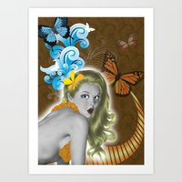 pinup Art Prints featuring Pinup by Sarah Churchill