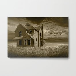 Sepia Toned Photograph of an Abandoned Farm House at Sunset Metal Print