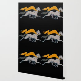 Vintage Running Horse with Banner Wallpaper