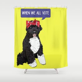 Political Pups - When We All Vote Shower Curtain