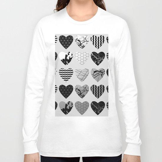 Metallic Love - Hexagon, stripes, triangles, geometric, marble, paint splat hearts! Long Sleeve T-shirt