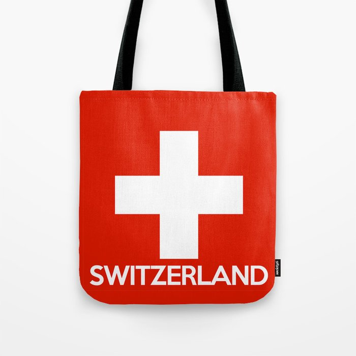 Switzerland Country Flag Name Text Swiss Tote Bag