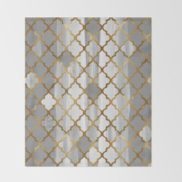 Moroccan Tile Pattern In Grey And Gold Throw Blanket