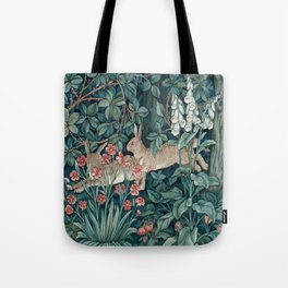 William Morris Forest Rabbits and Foxglove Greenery Tote Bag