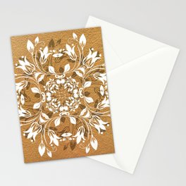 ELEGANT GOLD AND WHITE FLORAL MANDALA Stationery Cards