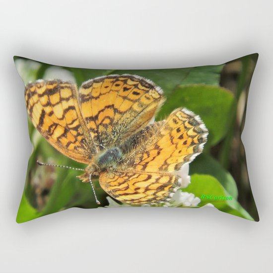 A Mylitta Crescent Butterfly at Rest Rectangular Pillow