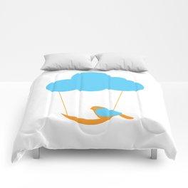 Cute bird and cloud Comforters