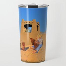Mural and adobe tower Taos New Mexico Travel Mug