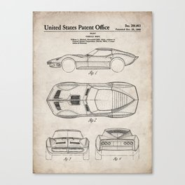 Classic Car Patent - American Car Art - Antique Canvas Print
