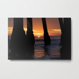 Pier Pilings Sunset Metal Print