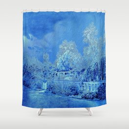 Wedgewood Blue English Garden Shower Curtain