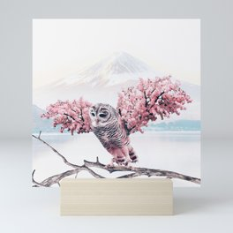 Sakura Owl Mini Art Print