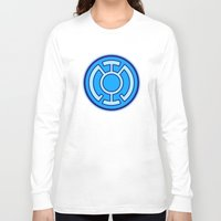 lantern Long Sleeve T-shirts featuring Green Lantern: Blue Lantern by The Barefoot Hatter