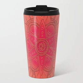 Coral Rose Mandala Travel Mug