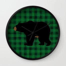 Black Bear - Green Plaid Wall Clock