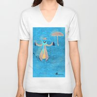mary poppins V-neck T-shirts featuring Mary Poppins by fedralita