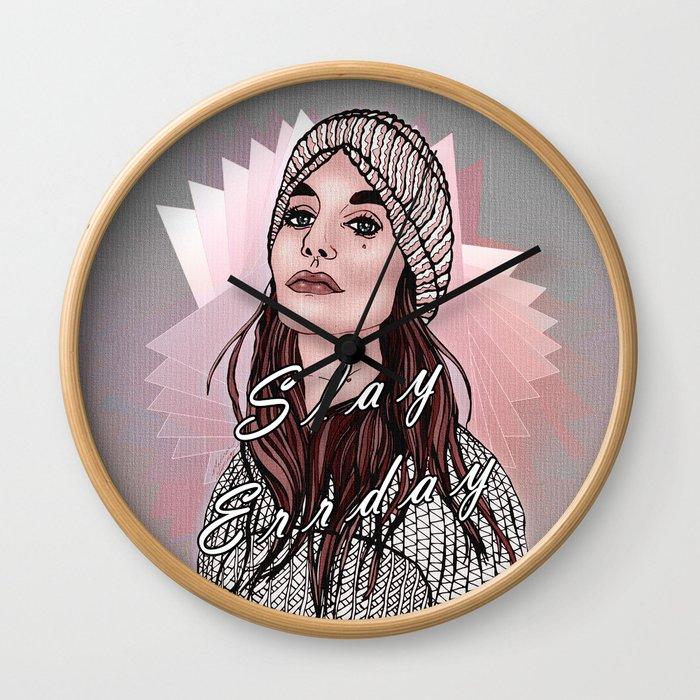Slay Errday Tuff Girl Illustration Wall Clock