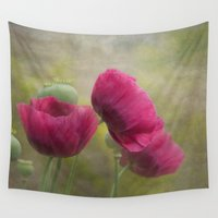poppies Wall Tapestries featuring Poppies by Pauline Fowler ( Polly470 )