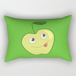 Cute Smiling Green Cartoon Apple Rectangular Pillow