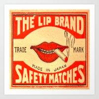 lip Art Prints featuring Lip Service by Wanker & Wanker