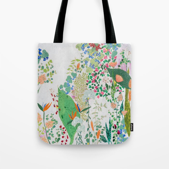 Painterly Floral Jungle on Pink and White Tote Bag