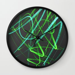 Lime Green and Aqua Wavy Lines on Black Wall Clock