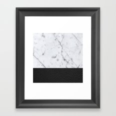 Marble and Leather Framed Art Print