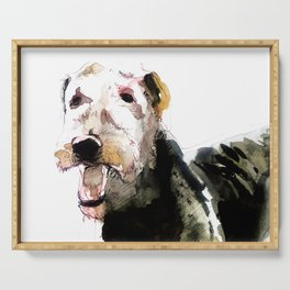 Airedale Terrier on watercolor Serving Tray