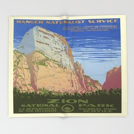 Vintage poster - Zion National Park Throw Blanket