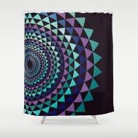 arya Shower Curtains featuring Spiral Yantra by Hinal Arya