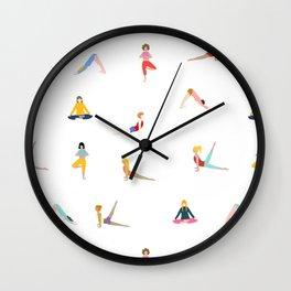 Women in yoga poses Wall Clock